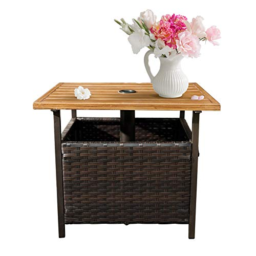 SunLife Patio Wood-Grain Side Table with Umbrella Hole/Umbrella Base Stand, Outdoor Furniture Bistro Table/PE Resin Wicker