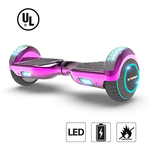 Hoverboard Lithium-Free Two-Wheel Self Balancing Electric Scooter UL 2272 Certified, Metallic Chrome LED Light (Chrome Pink)