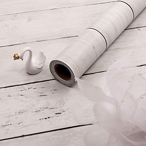 "17.7"" X 236.2"" White Wood Contact Paper Self-Adhesive Shiplap Removable Wallpaper Peel and Stick Kitchen Countertop Hoom Decoration Shlef Liner Vintage Wood Plank Wood Grain Film Vinyl Contact Paper"