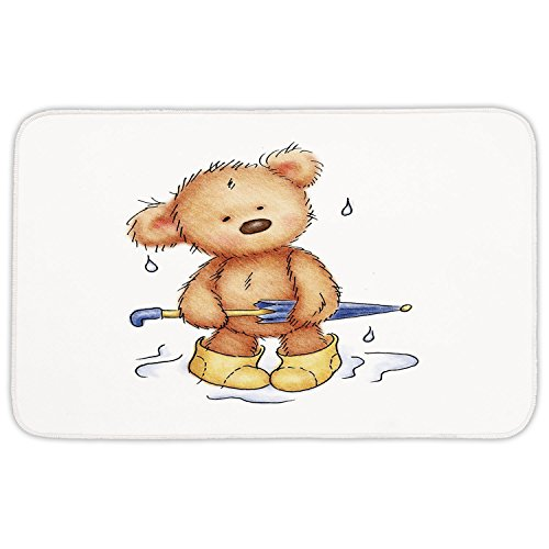 Bears Rain Boots (Rectangular Area Rug Mat Rug,Bear,Teddy Bear Caught up in Rain with Rubber Boots Holding an Umbrella Cartoon,Sand Brown Yellow Blue,Home Decor Mat with Non Slip Backing)