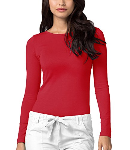 Adar Womens Comfort Long Sleeve T-Shirt Underscrub Tee - 2900 - Red - 3X