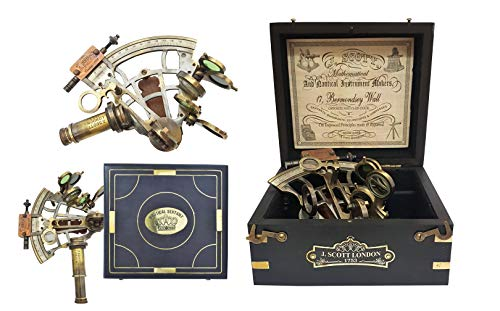 Brass Nautical Sextant Large Brass Navigation Instrument Sextante Navegacion Marine Sextant in Hardwood Gift Box
