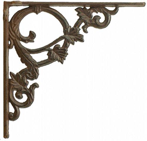 - Import Wholesales Decorative Shelf Bracket Ornate Leaf Custom Shelves Rust Brown Cast Iron 9.375