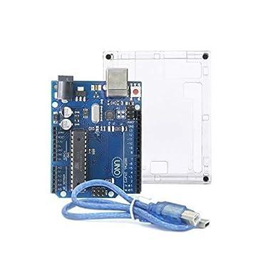 UNO R3 placa base ATmega328P ATMEGA16U2 – ALLEU U6011 con carcasa y cable USB compatible con Arduino UNO R3