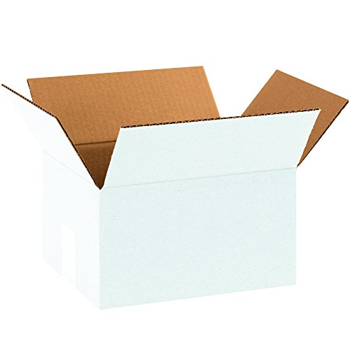 "Aviditi Corrugated Box, 10"" L x 8"" W x 6"" H, White, Bundle o"