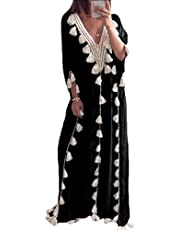 فستان GAGA النسائي الطويل بتصميم شرابة على شكل حرف V وعطلة الشاطئ