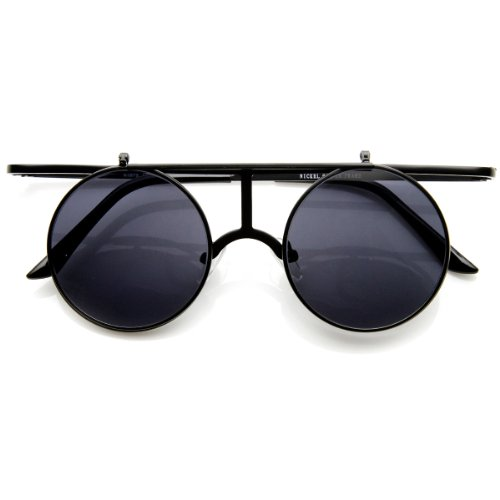 zeroUV - Metal Crossbar Flip-Up Lens Retro Circle Round Sunglasses (Black - S Sunglasses 90