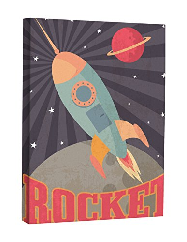 Jp London Retro Sci-Fi Space Rocket Kids Poster Canvas Art Wall Decor, 2' x