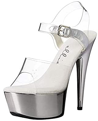 Ellie Shoes Womens 609-CHROME 609-chrome Transparent Size: 7 Clear/Silver
