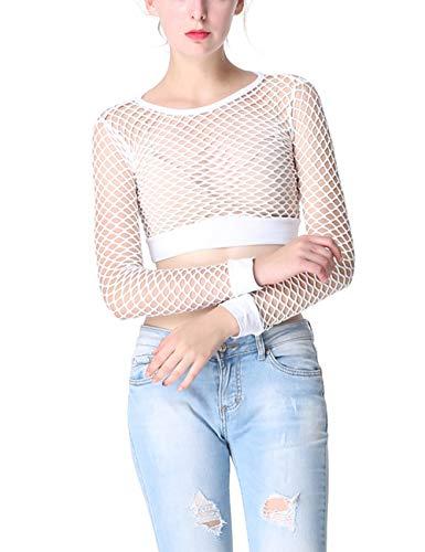 Ypser Women's Fishnet Mesh Crop Tops Long Sleeve Sheer Net T-Shirt Tee White