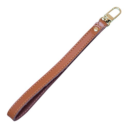 Nanafast Genuine Leather Gold Buckle Wrist Strap Replacement Hands-Free Wristlet for Wallets/Keychain/Clutch (Brown)