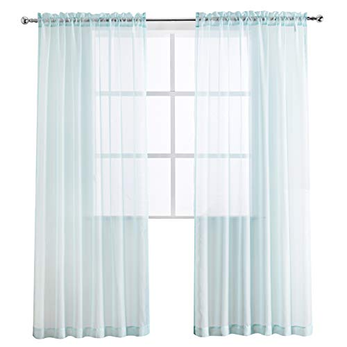 SHEEROOM Voile Solid Sheer Curtains for Kids Room, Aqua, 55 x 84 inch, 2 Panels ()