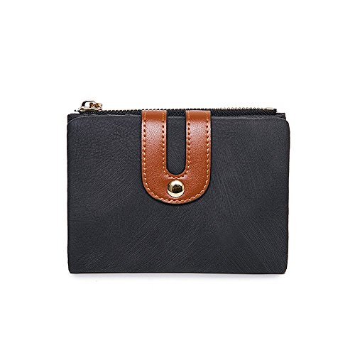 Women's RFID Bifold Leather Wallet Ladies Mini Purse with id Window Small Zipper Pocket for Coin Card Key Cash,Soft Spaces Thin (Black)