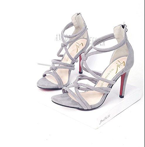 Chaussures Femmes Cross Orteil Xing Sexy Strap Haut Lin Sandales Avec Nouvelle Summer D'Été Femme Vent gray Pour Amende Ouvert Talon 7qICnvI5