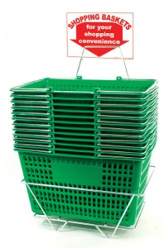 12 Jumbo Size Green Shopping Baskets With Chrome Handles by shopping basket