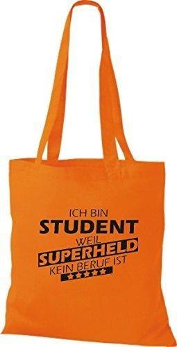 Shirtstown Stoffbeutel Ich bin Student, weil Superheld kein Beruf ist Orange