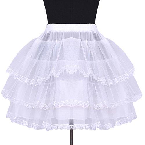 Sunny zeyu Girl's Short Lace Crinoline Underskirt Petticoat (White) (Petticoat Crinoline Lace)