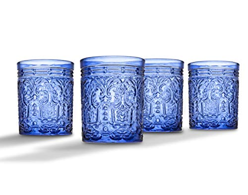 Jax Double Old Fashioned Beverage Glass Cup by Godinger - Blue - Set of -
