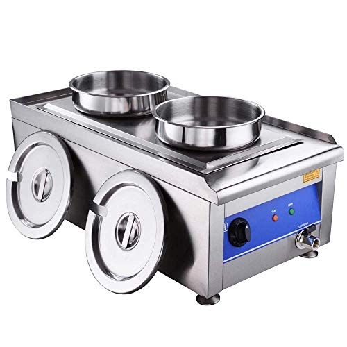 Selva Stainless Steel Temperature Controller Commercial Food Warmer  7L Portable Steam Table Countertop 2 Pots Soup Station | Removable Pot Rack Fit Standard Pan | For Restaurants Supermarket Shop