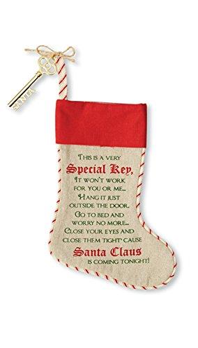 Santa Linen Christmas Stocking Key