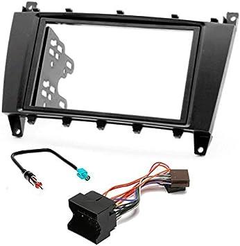 Sound-Way Kit Montage Autoradio, Marco 2 DIN Radio de Coche con Soportes de Montaje, Adaptador Antena, Cable Adaptador Conector ISO, Compatible con ...