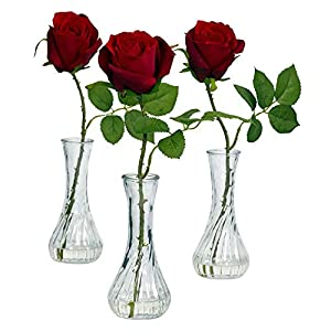 GREATHOPES Red Rose w/Bud Artificial Flower Decorative Vase (Set of 3) 51