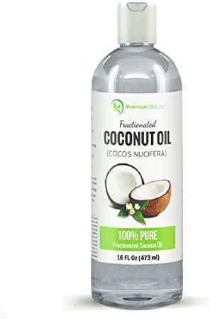 Fractionated Coconut Oil 16 oz, Skin Moisturizer, Natural Carrier Oil, Therapeutic, Odorless, by Premium Nature