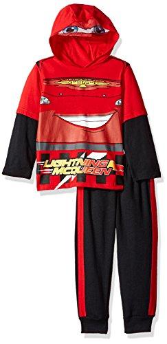 Disney Little Boys' 2 Piece Lightning McQueen Hooded Fleece Set With Mask, Red, 3T