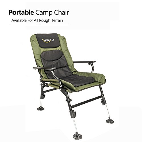 VINGLI 180°Adjustable Fishing Chair, Portable Reclining Lounge Chair for Outdoor/Indoor with Free Durable Carrying Bag, Easy Folding Mesh Padded Back for Camping/Picnic/Hiking/Beach, Support 350LBS by VINGLI