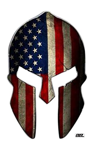 2X Large Spartan Gladiator 300 Helmet American Flag Patriotic Auto Car Decal Bumper Sticker Truck RV SUV Boat Window Support US Military Marines Navy Seal Army