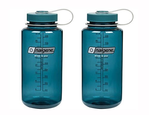 32 Ounce Quart Bottle - Nalgene Tritan Wide Mouth, Cadet with Matching Cap 32oz, Set of 2