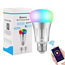 Bombilla Inteligente Wifi LED E27 RGBW, Bawoo WiFi Lámparas Color Regulable 16 Millones Bombilla Smart LED Bombillas WiFi Bulb Smart Regulable Amazon Alexa Echo Google Home IFTTT APP Mando Blanca Luz