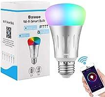 Bombilla Inteligente Wifi LED E27, Bawoo 7W RGBW Lámparas Color de Intensidad Regulable 16 Millones de Colores Trabajo Amazon Alexa Google Home Smartphone Control Remoto a Través de Aplicación