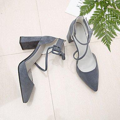 LvYuan Mujer Sandalias PU Primavera Verano Hebilla Tacón Robusto Negro Gris Rosa 7'5 - 9'5 cms gray