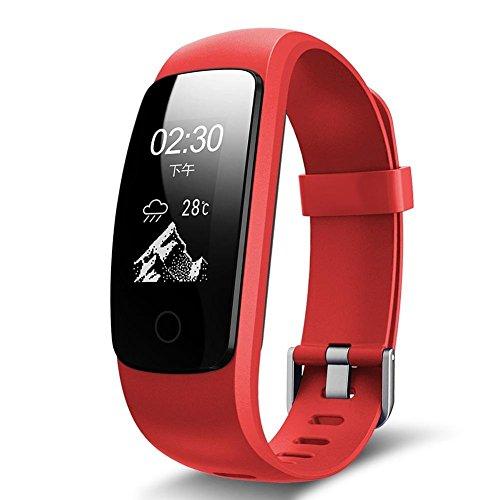 DACHUI Bracelet à puce 14 Modes Sport heart rate monitoring respiratoire météo multifonction Podomètre étanche Bluetooth d'orientation pour l'exercice physique, Red