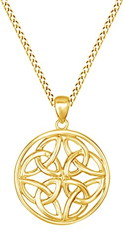 Jewel Zone US Celtic Knot Pendant Necklace 14k Yellow Gold Over Sterling Silver