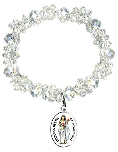 Goddess Hestia Gift of Sacred Space Silver Charm Crystal Bracelet -