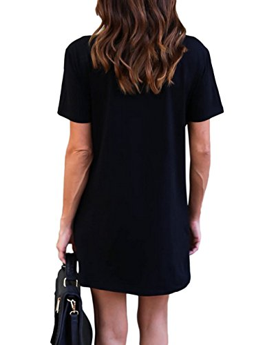 Shirt Lady Printed Yiwa Short Skirt Valentines Black Straight Sleeve Round T Women Gift Neck Short Dress wEPqdFgP