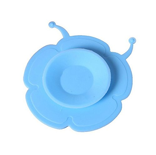 Skuleer(TM) Silicone Two-sided Sucker for Children Tableware Colorful Cartoon Anti-Slip Suction Cup for Baby Bowl [ Blue Flower ]