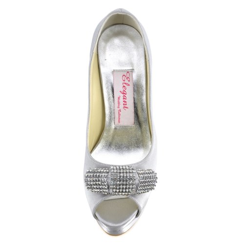 Elegantpark Ep11061-ipf Donna Peep Toe Strass Tacco Alto Da Sera Festa Nuziale Scarpe Da Sposa Scarpe Argento
