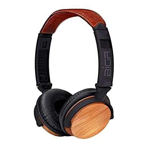 BiGR Audio Wood Over-Ear Headphones with Detachable Cable and Inline Mic, Beechwood (Bigr Audio Cable)