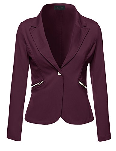 Ladies' Code Business Office Wear Long Sleeve One Button Fly Blazer Burgundy M Size