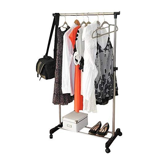 Ferty Adjustable Garment Rack, Single Rail Rolling Clothes Shoe Rack with Wheels
