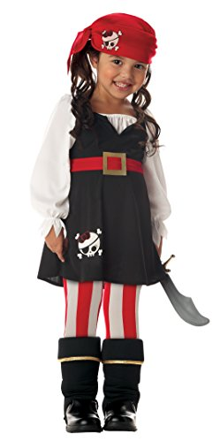 Precious Lil' Pirate Girl's Costume, Toddler M (3-4), One (Pirate Parrot Toddler Costumes)