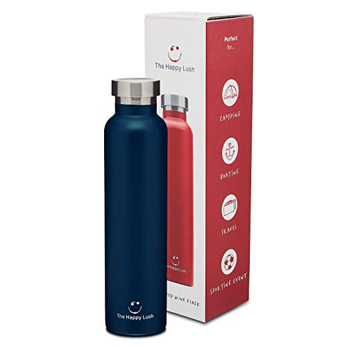 - The Happy Lush Blue 750 ml Insulated Wine Flask with Lid - Stainless Steel, Double Walled Vacuum Insulated Travel Bottle & Wine Growler for Hot and Cold Beverages