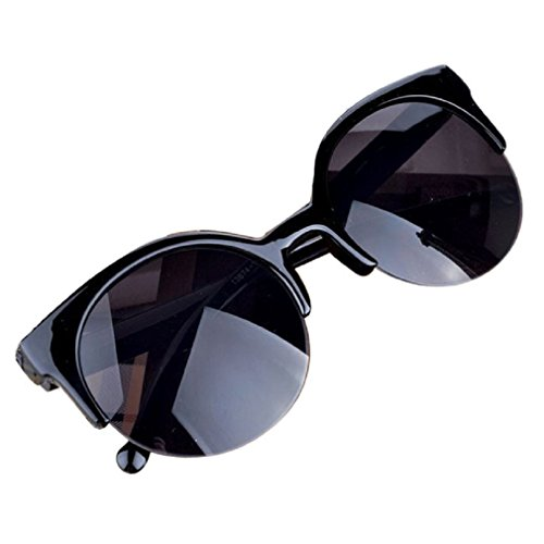 Forthery Vintage Retro Classic Half Frame Horn rimmed Sunglasses With Polycarbonate Lenses - Sunglasses Cap