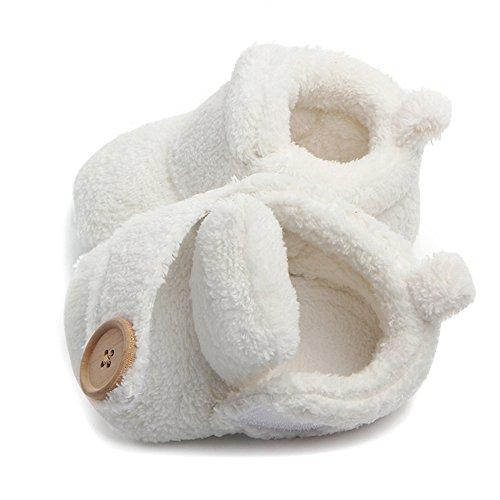 Butterme Neugeborene Fleece Bootie, Unisex Baby Premium Soft Sole Anti-Rutsch Infant Prewalker Kleinkind Schuhe Weiß