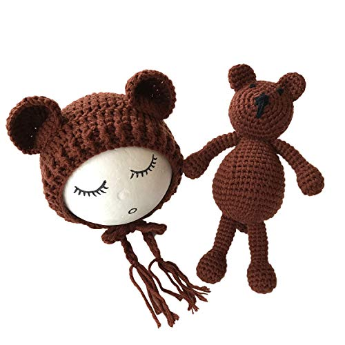 Newborn 2pcs Soft Photography Props Crochet Bear Beanie Hat with Knit Toy Dolls ()
