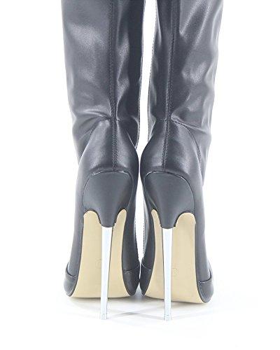 Wonderheel Stiefel Boots Over-knee Schwarz Fetisch Matte Metal Heel Crotch Stiletto