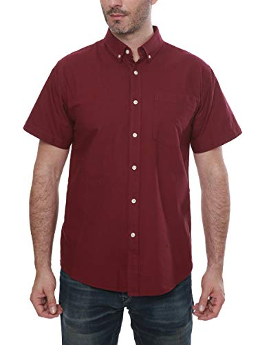 (Men's Short Sleeve Oxford Button Down Casual Shirt, Maroon, XX-Large)
